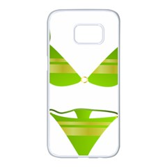 Green Swimsuit Samsung Galaxy S7 Edge White Seamless Case