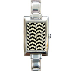 Chevron2 Black Marble & Beige Linen Rectangle Italian Charm Watch by trendistuff