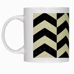 Chevron2 Black Marble & Beige Linen White Mugs by trendistuff