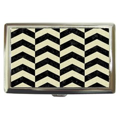 Chevron2 Black Marble & Beige Linen Cigarette Money Cases by trendistuff