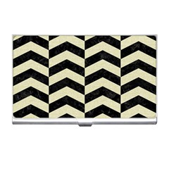 Chevron2 Black Marble & Beige Linen Business Card Holders by trendistuff