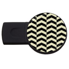 Chevron2 Black Marble & Beige Linen Usb Flash Drive Round (2 Gb) by trendistuff