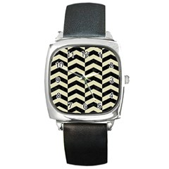 Chevron2 Black Marble & Beige Linen Square Metal Watch by trendistuff