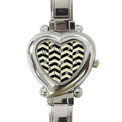 Chevron2 Black Marble & Beige Linen Heart Italian Charm Watch by trendistuff