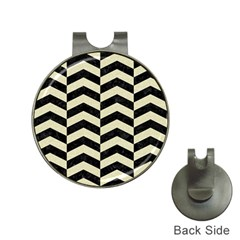 Chevron2 Black Marble & Beige Linen Hat Clips With Golf Markers by trendistuff