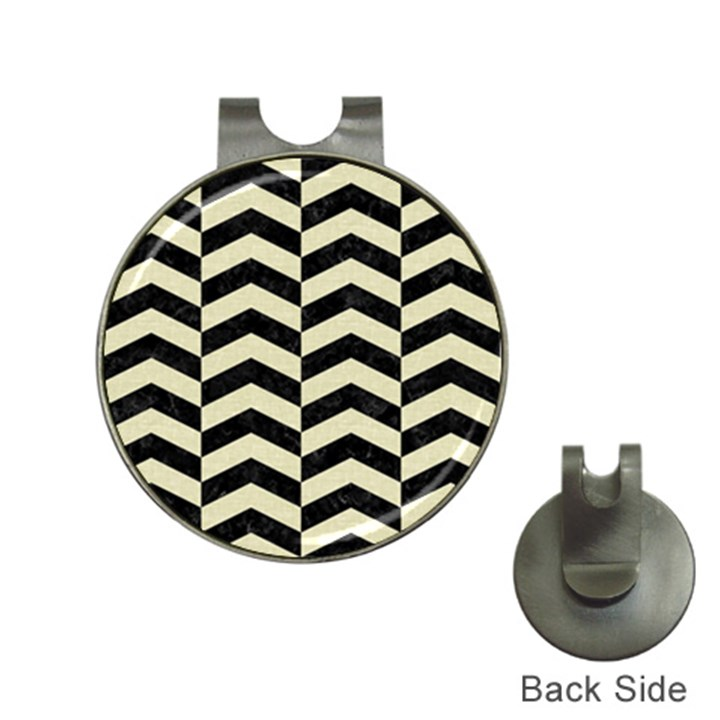 CHEVRON2 BLACK MARBLE & BEIGE LINEN Hat Clips with Golf Markers