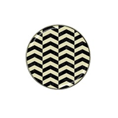Chevron2 Black Marble & Beige Linen Hat Clip Ball Marker (4 Pack)