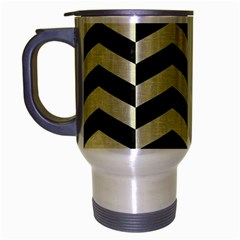 Chevron2 Black Marble & Beige Linen Travel Mug (silver Gray) by trendistuff