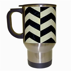 Chevron2 Black Marble & Beige Linen Travel Mugs (white) by trendistuff