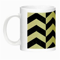 Chevron2 Black Marble & Beige Linen Night Luminous Mugs by trendistuff