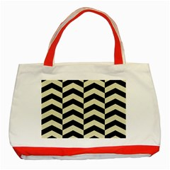 Chevron2 Black Marble & Beige Linen Classic Tote Bag (red) by trendistuff