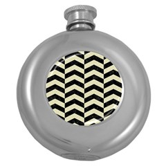 Chevron2 Black Marble & Beige Linen Round Hip Flask (5 Oz) by trendistuff