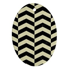 Chevron2 Black Marble & Beige Linen Oval Ornament (two Sides) by trendistuff