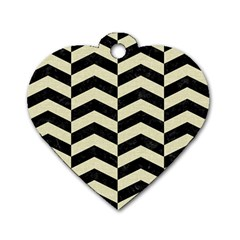 Chevron2 Black Marble & Beige Linen Dog Tag Heart (one Side) by trendistuff