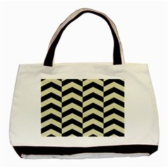 Chevron2 Black Marble & Beige Linen Basic Tote Bag (two Sides) by trendistuff