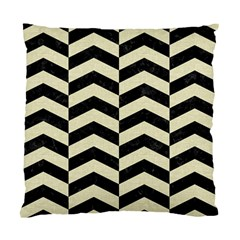 Chevron2 Black Marble & Beige Linen Standard Cushion Case (one Side) by trendistuff