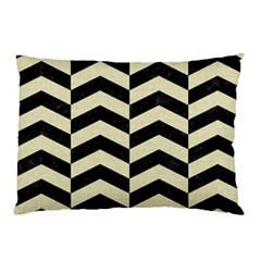 Chevron2 Black Marble & Beige Linen Pillow Case by trendistuff