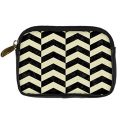 Chevron2 Black Marble & Beige Linen Digital Camera Cases by trendistuff