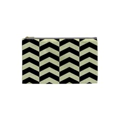Chevron2 Black Marble & Beige Linen Cosmetic Bag (small)  by trendistuff
