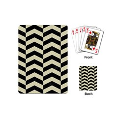 Chevron2 Black Marble & Beige Linen Playing Cards (mini)  by trendistuff