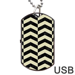 Chevron2 Black Marble & Beige Linen Dog Tag Usb Flash (two Sides) by trendistuff