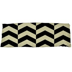 Chevron2 Black Marble & Beige Linen Body Pillow Case Dakimakura (two Sides) by trendistuff