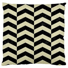 Chevron2 Black Marble & Beige Linen Large Cushion Case (two Sides) by trendistuff