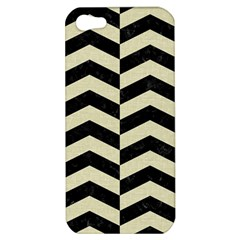Chevron2 Black Marble & Beige Linen Apple Iphone 5 Hardshell Case by trendistuff