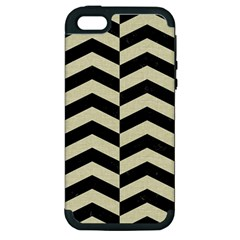 Chevron2 Black Marble & Beige Linen Apple Iphone 5 Hardshell Case (pc+silicone) by trendistuff