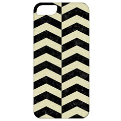 Chevron2 Black Marble & Beige Linen Apple Iphone 5 Classic Hardshell Case by trendistuff