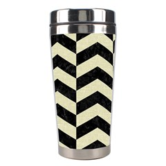 Chevron2 Black Marble & Beige Linen Stainless Steel Travel Tumblers by trendistuff