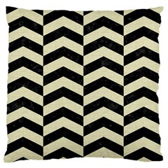 Chevron2 Black Marble & Beige Linen Large Flano Cushion Case (two Sides) by trendistuff