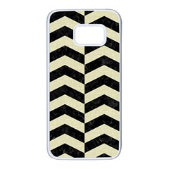 Chevron2 Black Marble & Beige Linen Samsung Galaxy S7 White Seamless Case by trendistuff
