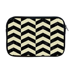 Chevron2 Black Marble & Beige Linen Apple Macbook Pro 17  Zipper Case by trendistuff