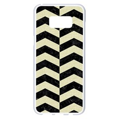 Chevron2 Black Marble & Beige Linen Samsung Galaxy S8 Plus White Seamless Case by trendistuff