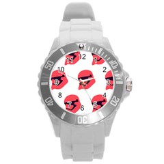 Stormtroper Pattern  Round Plastic Sport Watch (l) by paulaoliveiradesign