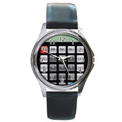 Calculator Round Metal Watch