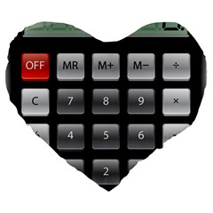 Calculator Large 19  Premium Flano Heart Shape Cushions by BangZart