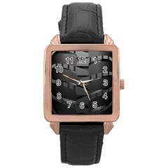 Tire Rose Gold Leather Watch  by BangZart
