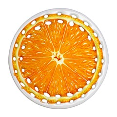 Orange Slice Round Filigree Ornament (two Sides) by BangZart