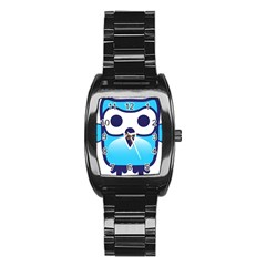 Owl Logo Clip Art Stainless Steel Barrel Watch
