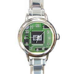 Computer Bios Board Round Italian Charm Watch by BangZart