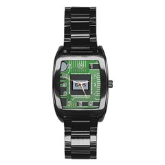 Computer Bios Board Stainless Steel Barrel Watch