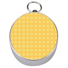 Yellow Pattern Background Texture Silver Compasses by BangZart