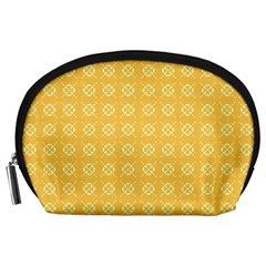 Yellow Pattern Background Texture Accessory Pouches (large)  by BangZart