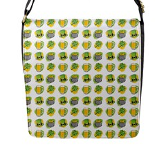 St Patrick S Day Background Symbols Flap Messenger Bag (l)