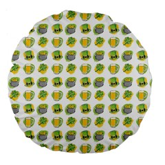 St Patrick S Day Background Symbols Large 18  Premium Flano Round Cushions by BangZart