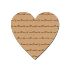 Brown Pattern Background Texture Heart Magnet by BangZart
