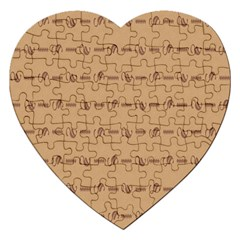 Brown Pattern Background Texture Jigsaw Puzzle (heart)