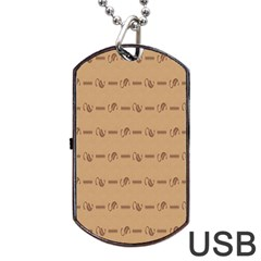Brown Pattern Background Texture Dog Tag Usb Flash (one Side) by BangZart